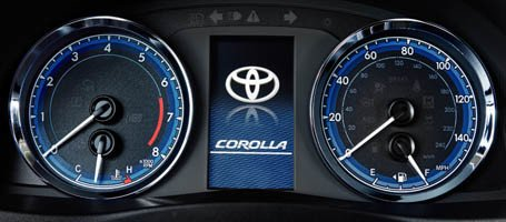 2017-Toyota-Corolla illuminated speedometer and tachometer
